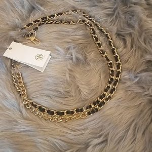 Tory Burch  leather and chain belt
